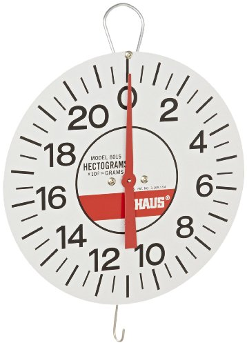 Ohaus 8015-00 Dial-Type Hanging Spring Scale with Demonstration Dial 20 Hg x 1/2 Hg