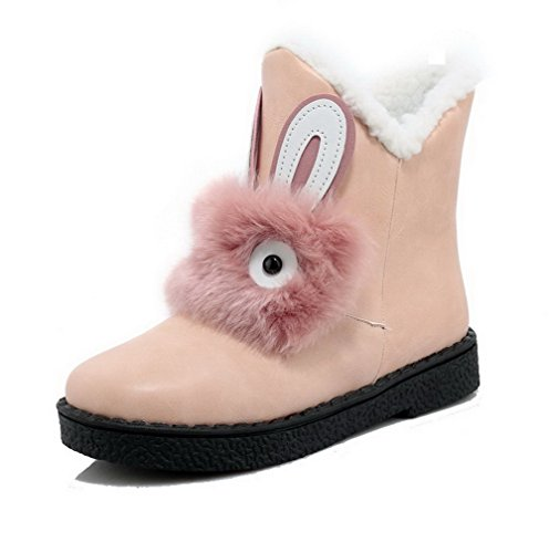 AgooLar Women's Low-top Pull-on Soft Material Low-Heels Round Closed Toe Boots Pink IcK4WrzI4