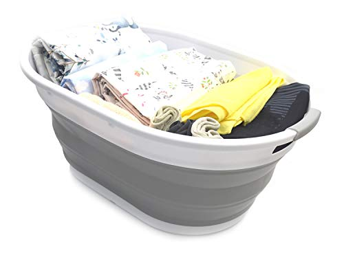 SAMMART 28L (7.4 Gallon) Collapsible Plastic Laundry Basket - Oval Tub/Basket - Foldable Storage Container - Portable Washing Tub - Space Saving Laundry Hamper, Water Capacity 22L/5.8 Gallon (1, Grey) ()