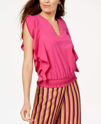 Trina Turk Women's Cancun Smocked Waist Top, Brilliant Fuchsia Medium
