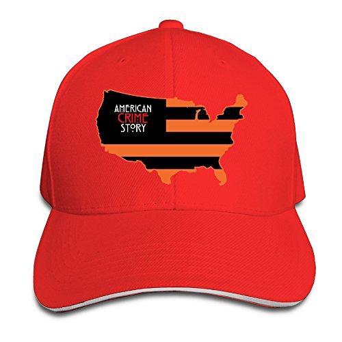 Shiningstar American Crime Flag Map Piping Visor Baseball Cap Red ()