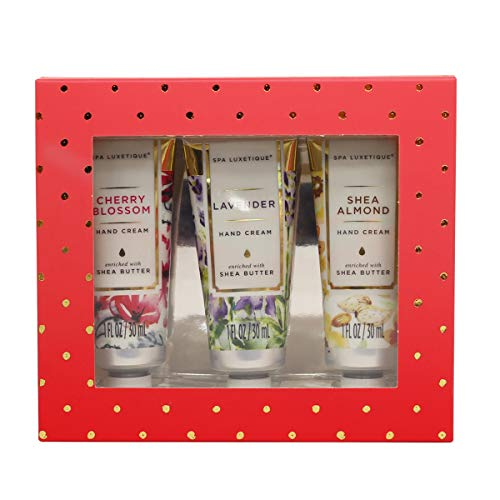 Spa Luxetique Shea Butter Hand Cream Gift Set, 3 Travel Size (1oz each) Nourishing Hand Cream Set with Natural Aloe and Vitamin E, Moisturizing & Hydrating for Dry Hands. Ideal Gift for Women, Her