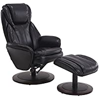 Mac Motion Recliner with Matching Ottoman in Black Breathable Air Leather with Apline Frame