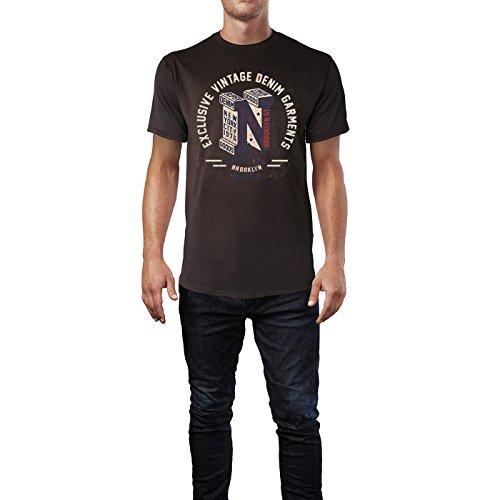 Sinus Art ® Herren T Shirt Exclusive Vintage Denim ( Chocolate ) Crewneck Tee with Frontartwork