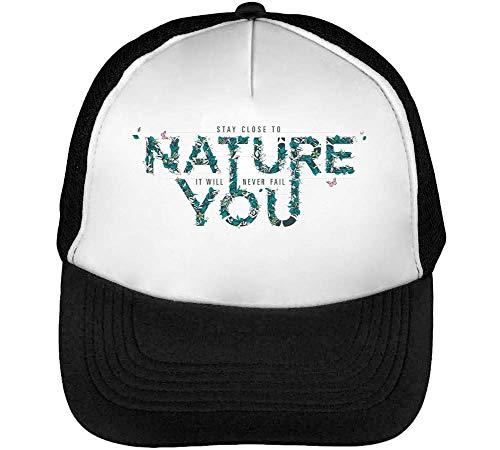 Nature You Gorras Hombre Snapback Beisbol Negro Blanco
