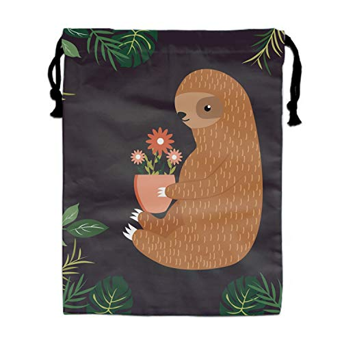 Burlap Bags with Drawstring Cute Sloth With Flower Pouches Sacks Bag for Wedding Favors, Party, DIY Craft