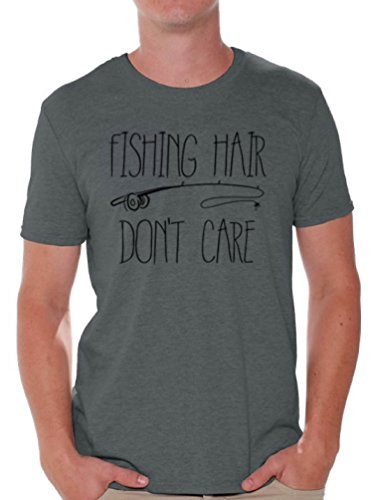 Awkward Styles Men's Fishing Hair Don`t Care T Shirts Tops with A Fishing Rod Charcoal 2XL