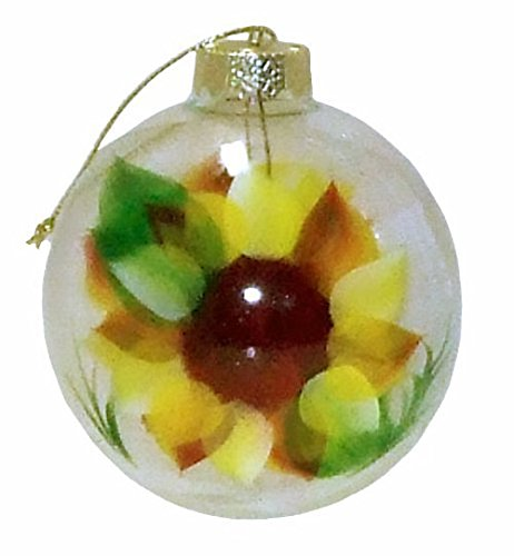 Golden Giant Sunflower Ornament. Hand Painted on Clear Glass Ball