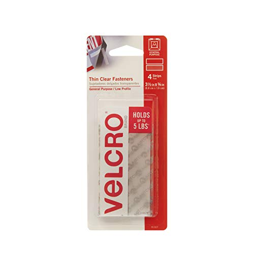 VELCRO Brand - Thin Clear Fasteners | General Purpose/ Low Profile | Perfect for Home or Office | 3 1/2in x 3/4in Strips, Clear