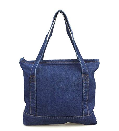 Hoxis Light Weight Soft Denim Tote Unisex Shopper Shoulder Handbag (Navy) ()
