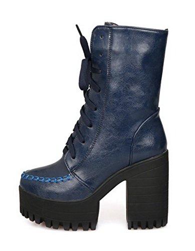 AgooLar Damen Rund Zehe Hoher Absatz Weiches Material Rein Stiefel mit Schnalle, Blau, 36