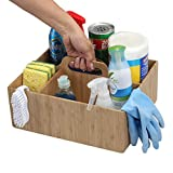 MobileVision Bamboo Multi-Purpose Caddy with Handle, 3 Sections, Sturdy Durable Carrier for Cleaning Supplies, Spray Bottles, Towels, Sponges and More
