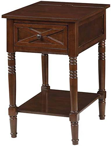 Convenience Concepts Country Oxford End Table with Charging Station, Espresso