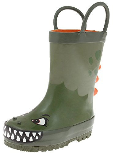 Capelli New York Toddler Boys Angry Dinosaur Rain Boots Green Combo 8/9 ()