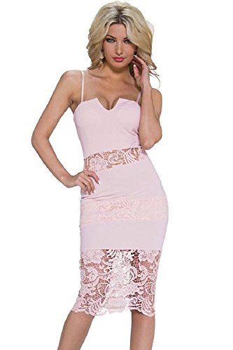 Damen Rosa Spitzeneinsatz figurbetontes Kleid Club Wear Party Kleid ...