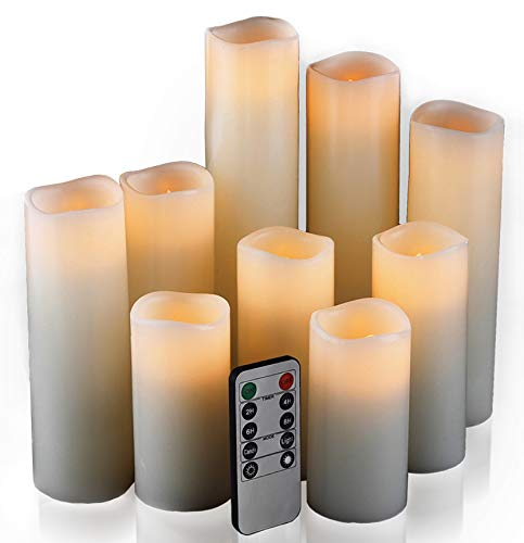 Flameless Candles Led Candles Set of 9H 4quot 5quot 6quot 7quot 8quot 9quot xD 22quot Ivory Real Wax Battery Candles With Remote Timer by Batteries not included