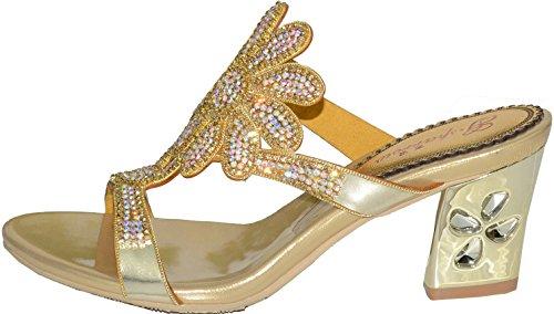 Abby Mujeres Nice Wedding Party Show Trabajo Rhinestone Block Heel Sandalias De Microfibra De Oro