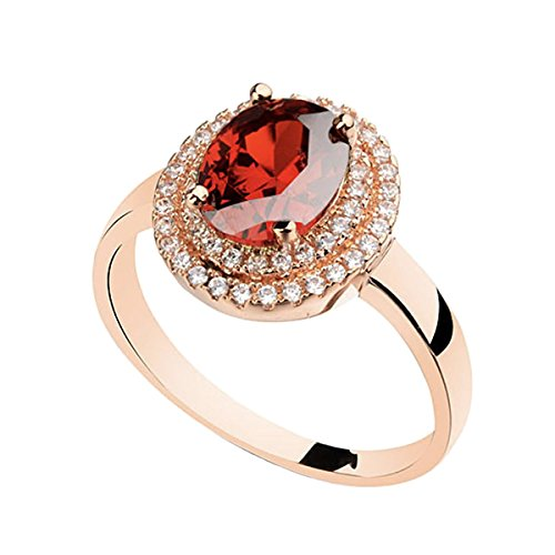 (Rose Gold Plated Oval Shaped Gem Style Ring with Ruby Red Swarovski element Crystal and Clear Round Shaped Cubic Zirconia Fashion Jewelry for Women (RGP RED, 9))