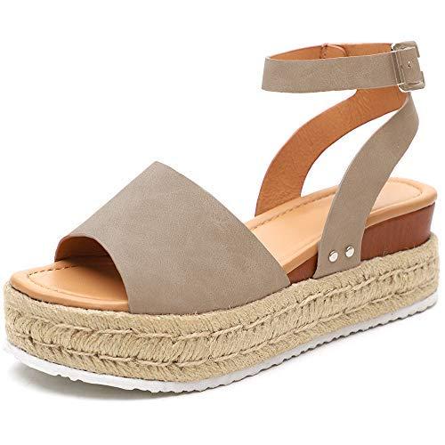Athlefit Women's Platform Sandals Espadrille Wedge Ankle Strap Studded Open Toe Sandals Size 9 Khaki