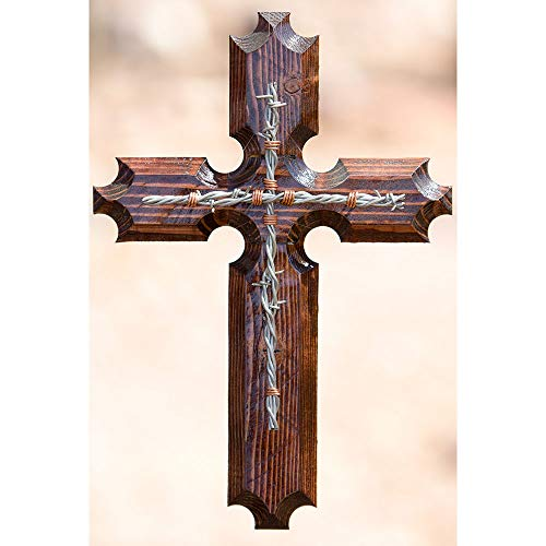 Clr Wood Finish - Wooden Cross-Hope Cross Light Wood Finish w/Black Barbed Wire