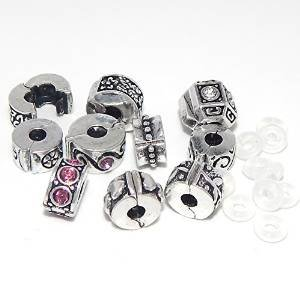 Jewelry Monster -Set of 10- Assorted Metal Clips and 10 Rubber Stoppers Charm Beads