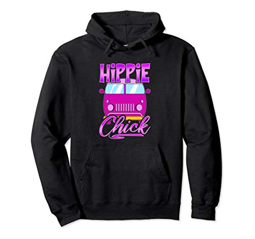 Vintage Hippie Chick HoodieRetro Van Pink Love
