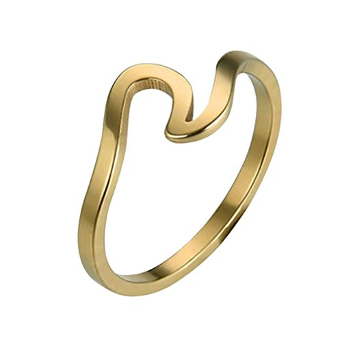 Hemlock Women Girls Wave Ring Jewelry Rose Gold Rings Valentine's Rings Birthday Gift Rings (10, Gold)