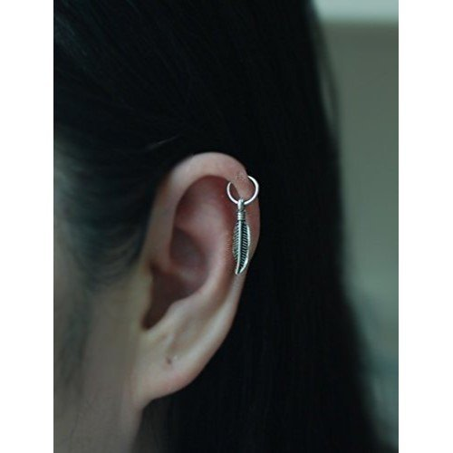 20gauge Sterling silver Cartilage hoop with Feather Charm,Tiny Cartilage Ring,Cartilage earring,Tragus earring,Helix ring,piercing earring, Quantity: 1 single hoop