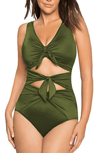 PinkWind Women's V Neck Bandage Tie Front High-Waisted One Piece Swimsuit Monokini Bikini XL Army - One Made Piece Swimsuit Custom