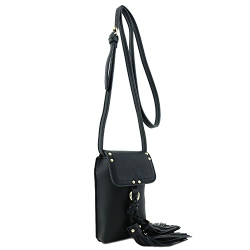 Tassel with Accent Black Bag Cell Phone Crossbody tIwzqxp1