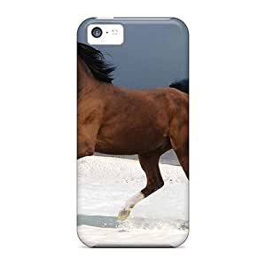 For Iphone 5c Premium Tpu Case Cover Horse On Beach Protective Case
