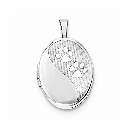Sterling Silver 16mm Oval Satin & Polished Paw Prints Locket 16 Mm Oval Locket