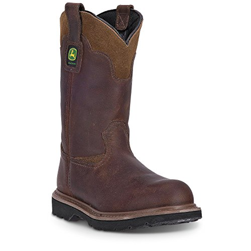 John Deere Men's 11'' All Around Steel Shank Pull-On Work Boots, Brown Leather, 16 W - 11' Brown Boot