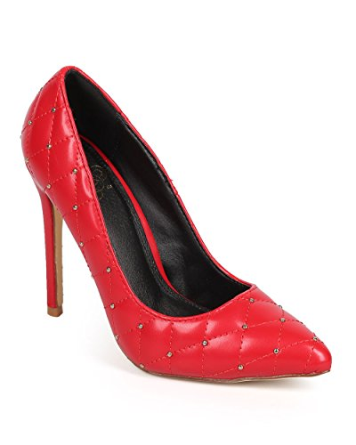 Miss L Women Quilted Leatherette Pointy Toe Studded Stiletto Pump DA70 - Red (Size: 9.0) by Miss L