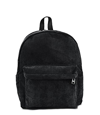 Hoxis Casual Light Weight Corduroy Zipper Backpack Girl Daypack Travel Purse (Black) - Corduroy Womens Shoulder Bag