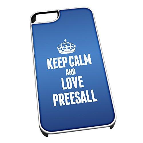 Bianco cover per iPhone 5/5S, blu 0506Keep Calm and Love Preesall