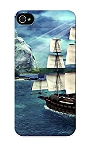 Inthebeauty High Grade Flexible Tpu Case For Iphone 5/5s - Fantastic World Ships Sailing Coast Skulls Fantasy ( Best Gift Choice For Thanksgiving Day)