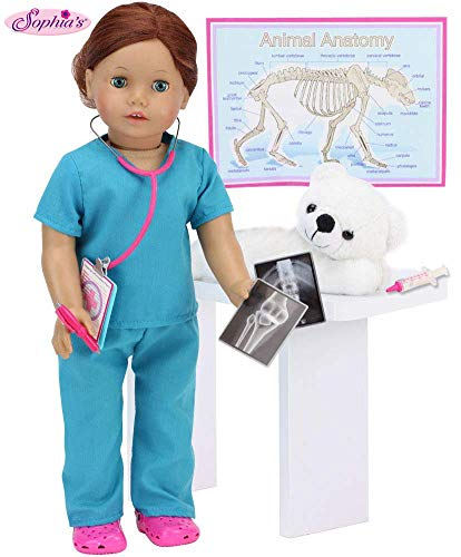 Smithsonian Veterinarian Polar Bear Set for Dolls | 11 Piece Vet Set Sized for 18 in Dolls Includes Polar Bear, Scrubs, Stethoscope, X-Rays, Syringe and More from Sophia's