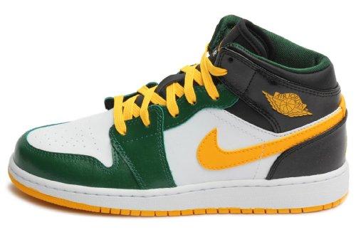 NIKE Boys' Grade School Air Jordan 1 Mid Basketball Shoes, Green/Blue/White/Yellow (US 7Y)