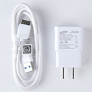 Samsung Charger EP-TA10JWE, 5.3V 2Amp Charger Adapter with Samsung Data Sync Cable ET-DQ11Y1WE for Galaxy S5/Note 3 - Non Retail Packaging - WHITE