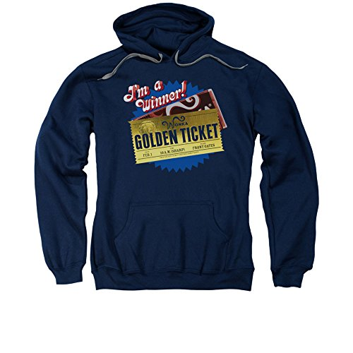 Willy Wonka & The Chocolate Factory Movie Golden Ticket Adult Pull-Over Hoodie