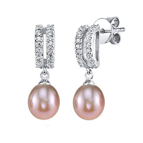 THE PEARL SOURCE 8-9mm Genuine Pink Freshwater Cultured Pearl & Cubic Zirconia Blake Earrings for Women