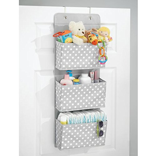 mDesign Soft Fabric Over The Door Hanging Storage Organizer with 3 Large Pockets for Child/Kids Room or Nursery - Fun Polka Dot Pattern, Hooks Included, Light Gray with White Dots