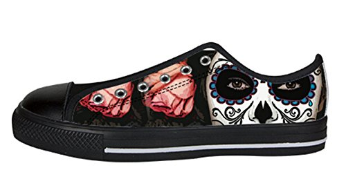 Women's Mexican Sugar Skull Canvas Sneakers US 7