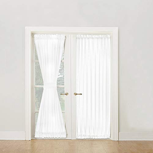 Semi Sheer French Door Panels Privacy Casual Weave Textured French Door Curtains 72 inch Length Tieback Included, Two Panels, White