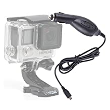 DURAGADGET Mini USB In-Car Charger and Power Supply Compatible With GoPro HERO 4 | 4 Black | 4 Silver | LCD | HERO4 Session / Surf | Session | Hero 3 | Hero 2 | Helmet Hero Action Camera