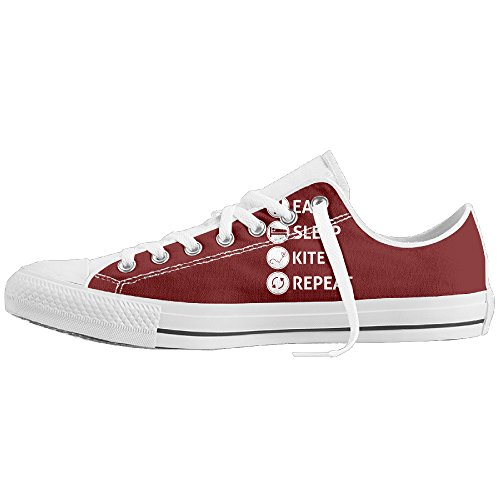 Eat Sleep Kite Repeat Low-Cut Canvas Shoes Unisex Sneaker-All Season Casual Trainers For Men And Women ColourName (Halloween Surprise Parks And Recreation)