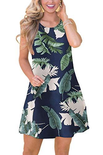 (Women's Pocket Casual Beach Sundress Swing Summer Boho Floral Tank Dress with Pockets Tropical Leaf XXL)