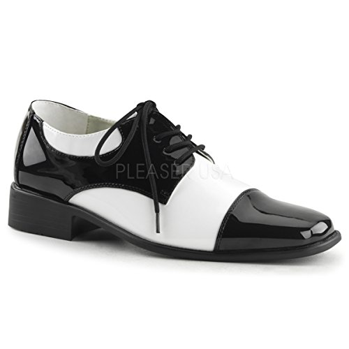 Funtasma by Pleaser Men's Halloween Disco-18,Black Patent/White Patent,S (US Men's 8-9 M)]()