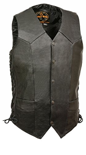 - Mens Classic Side Lace Leather Biker Vest Premium Milled Cowhide - Tall